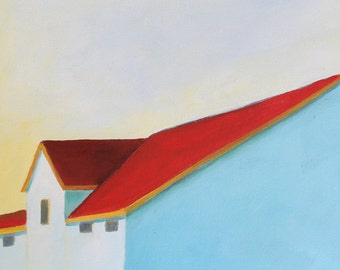 House with red roof - art print reproduction of original oil painting