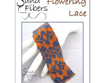 Peyote Pattern - Flowering Lace Peyote Cuff / Bracelet  - A Sand Fibers For Personal/Commercial Use PDF Pattern