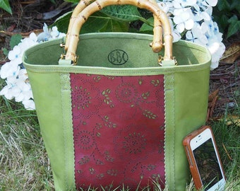 Summer Berry Leather Tote