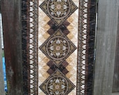 Bed Runner, Foot Warmer Quilt in warm elegant browns Stonehenge Aphrodite fabric