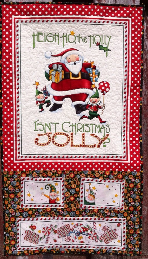 Mary engelbreit quilted christmas card holder wall hanging for Christmas card holder wall hanging