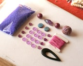 Radiant Orchid DIY Bead Kit, Destash Beads, Bead Soup, Craft Kit, Mixed Beads