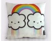 """16 x 16"""" Rainbow Cloud, Rainbow Pillow, Cloud Pillow, Decorative Pillow, Kawaii Pillow, Toy Pillow, Rainbow Decor, Children's Pillow"""