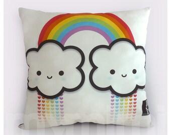 """12 x 12"""" Rainbow Cloud, Rainbow Pillow, Cloud Pillow, Decorative Pillow, Kawaii Pillow, Toy Pillow, Rainbow Decor, Children's Pillow"""