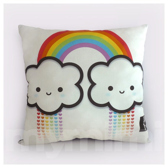 16 X 16 Rainbow Cloud Rainbow Pillow Cloud Pillow By Mymimi