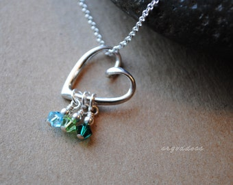 Floating HEART sterling silver swarovski birthstone crystals with length and clasp choices by srgoddess