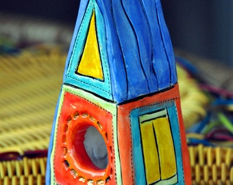Little blue roof mini faerie or birdhouse