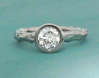 Twig Engagement Ring in Palladium 950 and Moissanite, Pine Branch, Choose a Stone Size
