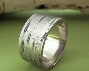 Birch Bark Wedding Ring in 14k Palladium White Gold - Choose a Width