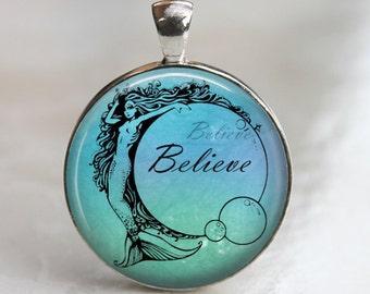 Believe - Mermaid Glass Pendant in Silver Bezel 30mm