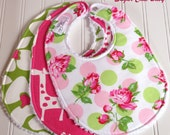 Baby Bibs for Baby Girl -  Set of 3 Triple Layer Chenille -  Pink & Green Floral, Candy Pink Giraffe, Chartreuse Green and Candy Pink Floral