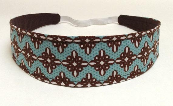 Headband Reversible Fabric  - Brown & White Medallions on Aqua Turquoise - Headbands for Women -  MARIE