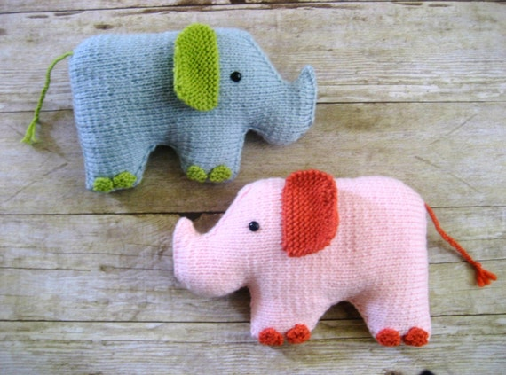 Amigurumi Elephant Knitting Pattern : Amigurumi Knit Elephant Pattern Digital Download