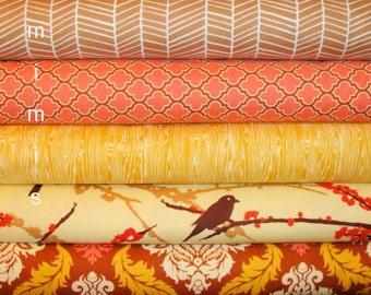 LAST BUNDLE / AVIARY 2 and True Colors by  Joel Dewberry Fabric / 5 Half Yard Bundle /  Bark / Cotton Quilt Fabric
