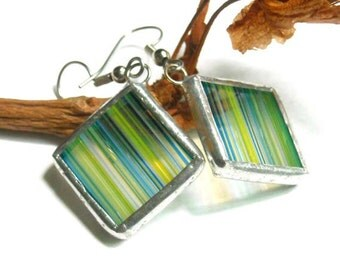 Striped Stained Glass Earrings
