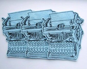 Set of 3 Typewriter Iron On Patches  in Baby Blue Felt