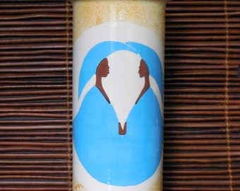The Couple in Turquoise Vase Ceramic Earthenware Handmade