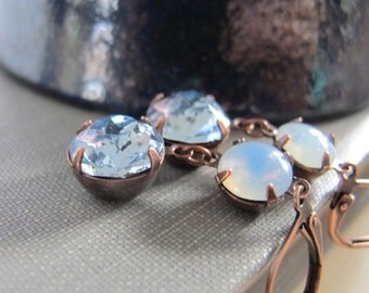 Sapphire Earrings, Sapphire Blue, Copper Earrings, Vintage Glass Charms, Faceted Blue, Rhinestone Earrings