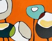 Poppies on Orange - Canvas Print 24 x 24