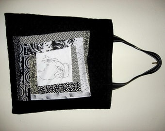 Large Rooster Patchwork Quilted Tote Bag