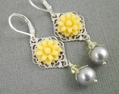 Yellow and Gray Silver Filigree Flower and Pearl Earrings Set Reserved for Calista
