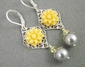 Yellow and Gray Silver Filigree Flower and Pearl Earrings