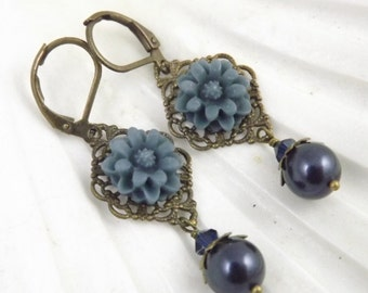 Navy Blue Filigree Flower and Pearl Earrings
