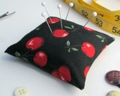 Large Emery Pincushion / Pin Cushion - Red Cherries on Black