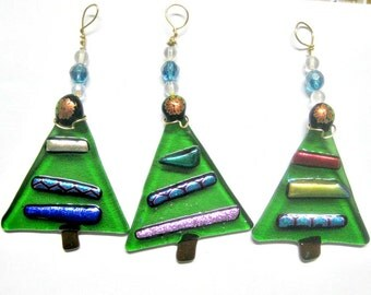 Fused Glass Small Christmas Trees Ornaments Set of 3