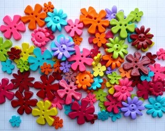 FLOWER buttons x100g Bright Colours
