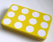 Polka Dot Tin for Fridge Magnets, Gift Cards, Craft Supplies, Tin with Lid, Eco Friendly Gift Giving, Yellow and White