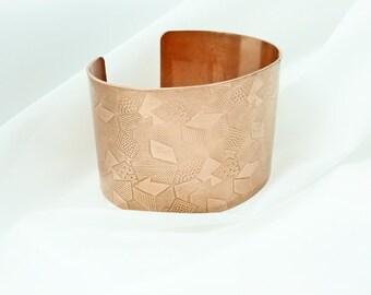 Copper Cuff - Geometric Garden - S, M, L  Wide Bracelet