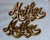 VINTAGE: Brass Mother Name Plate Pendants (2 Pcs
