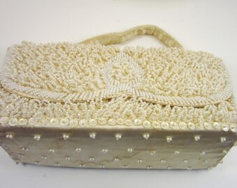 Vintage Ivory Beaded Purse - Bon Soir With Italian Beads - Bridal or Bride Clutch -REDUCED for CHRISTMAS SALE