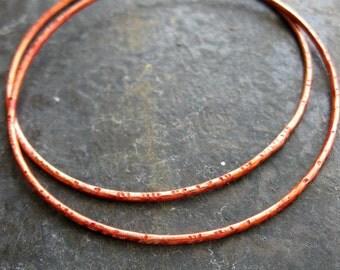 2 inch Hammered Soldered Copper Hoop Findings in Paprika Orange - 1 pair - 16 gauge