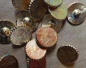 20 shiny vintage brass buttons plain front