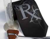 Prescription necktie. Rx Fancy Pharmacist edition. Choose standard or narrow size. 100% silk. Black pearl screen print.