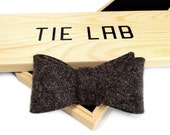 Industrial wool felt bow tie. Laser cut felt. FREE wood gift box included. Choose light gray, tan or charcoal gray felt. New from Cyberoptix