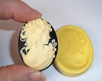 Victorian Lady Cameo Flexible Push Mold Mould For Resin Polymer Clay Chocolate Food Safe Silicone  J313