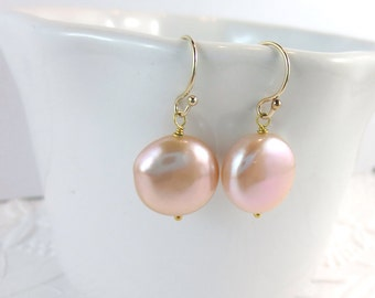 Blush Pink Coin Pearl Earrings with Gold