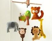 Musical Baby Mobile SAFARI QUEST ADVENTURE, Wool Felt Hanging Mobile for the Crib, Jungle Animals, Safari Theme Nursery, Kids Playroom Decor