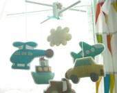 Musical Mobile BON VOYAGE, Cars Transportation Theme for Modern Nursery Decor, Hanging Felt Mobile, Road, Travel, Vehicle by Air, Sea, Land