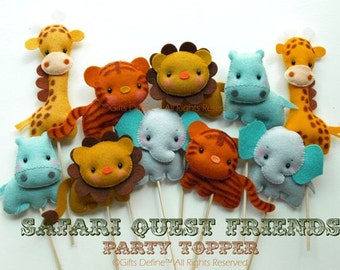 Safari Quest Jungle Animal Keepsake, Custom Party Topper, Party Favors, Cupcake Topper, Pet Collectible, Baby Shower, Birthday Party Decor