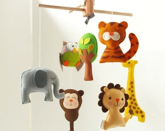 Free US Ship Musical Baby Mobile SAFARI QUEST Adventure, Modern Mobile for the Baby Nursery, Jungle Safari Theme Room, Kids Playroom Decor
