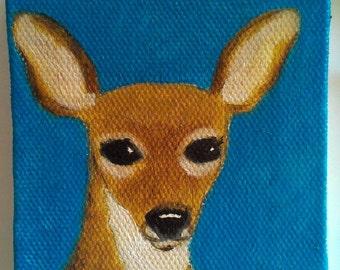 Tiny deer painting, original oil