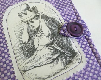 Alice in Wonderland Cover Purple Checkerboard fits Kindle 4/5, Kindle Voyage, Kobo Touch