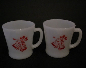 2 vintage Milk Glass Christmas Holiday Bell cups