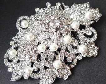 HALF PRICE Sale- Bridal Hair Accessories, Great Gatsby, Pearl Crystal Wedding Bridal Hair Comb, Art Deco Bridal Hair Accessories, GENEVA