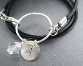 Personalized Leather Wrap Bracelet with Swarovski Crystal and Sterling Silver Metal Ring