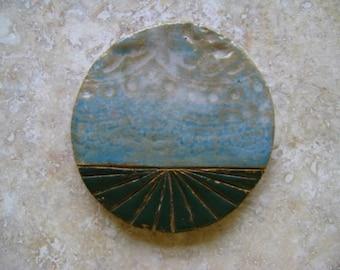 farm field tile or pendant, ceramic, midwest art